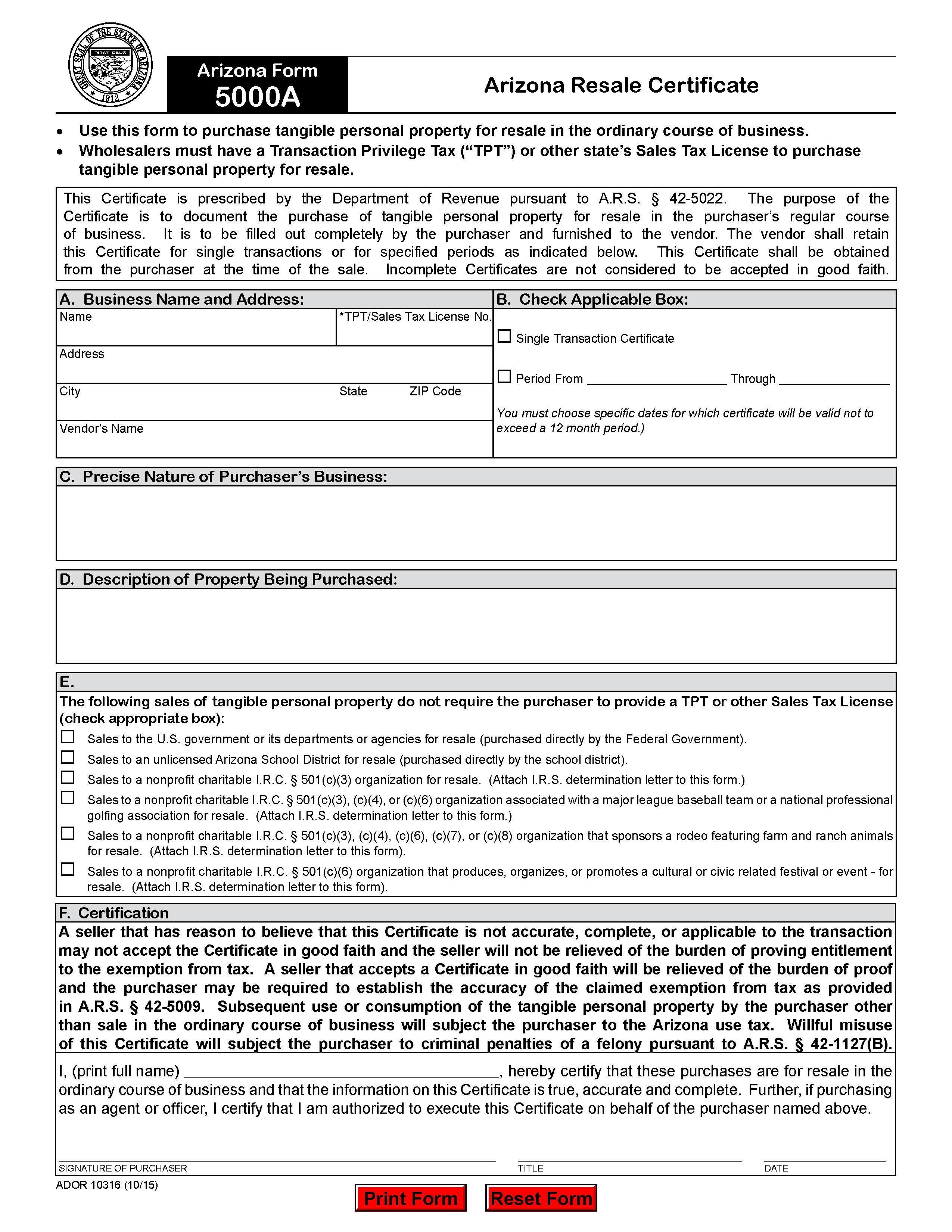 Arizona Resale Certificate Trivantage