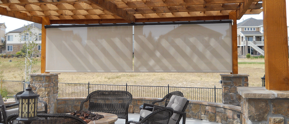 back porch with shade screen