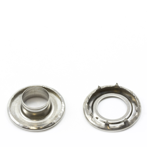 Image for Self-Piercing Rolled Rim Grommet with Spur Washer #4 Stainless Steel 1/2