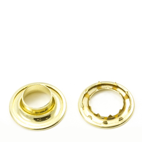 Image for Stimpson Rolled Rim Grommet with Spur Washer #6 Brass 3/4
