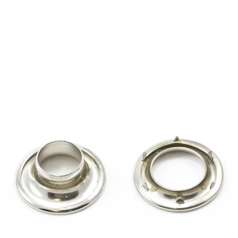 Image for Stimpson Rolled Rim Grommet with Spur Washer #2 Brass Nickel Plated 7/16