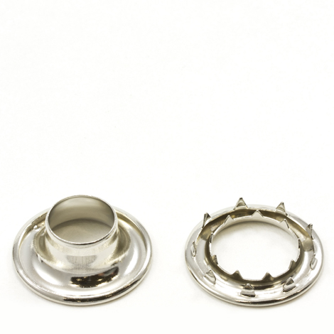 Image for Stimpson Rolled Rim Grommet with Spur Washer #5 Brass Nickel Plated 5/8