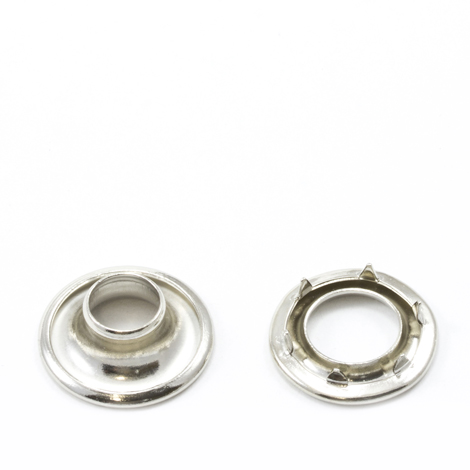 Image for Stimpson Rolled Rim Grommet with Spur Washer #0 Brass Nickel Plated 9/32