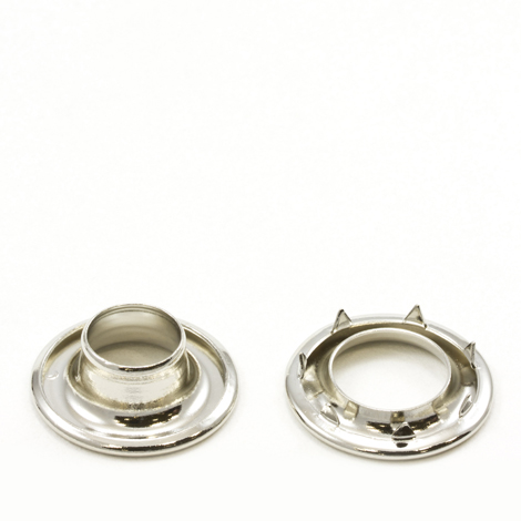 Image for Stimpson Rolled Rim Grommet with Spur Washer #3 Brass Nickel Plated 15/32