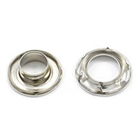 "Thumbnail Image for Self-Piercing Rolled Rim Grommet with Spur Washer #1 Nickel Plated Brass 3/8"" 500-pk"