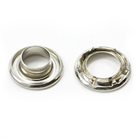 "Thumbnail Image for Self-Piercing Rolled Rim Grommet with Spur Washer #2 Nickel Plated Brass 7/16"" 250-pk"
