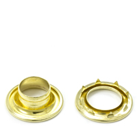 "Rolled Rim Grommet with Spur Washer #4 Brass 9/16"" 1-gr"