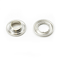 "Thumbnail Image for Sharpened Edge Self-Piercing Grommet with Small Tooth Washer #2 Nickel Plated Brass 3/8"" 500-pk"