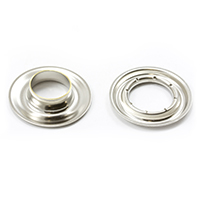 "Thumbnail Image for Sharpened Edge Self-Piercing Grommet with Small Tooth Washer #3 Nickel Plated Brass 7/16"" 100-pk"