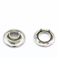 "Rolled Rim Grommet with Spur Washer #0 Brass Nickel Plated 9/32"" 1-gr"