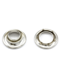 "Rolled Rim Grommet with Spur Washer #1 Brass Nickel Plated 13/32"" 1-gr"