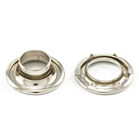 "Thumbnail Image for DOT Rolled Rim Grommet with Spur Washer #2 Nickel Plated Brass 7/16"" 25-gr"