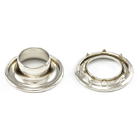 "Thumbnail Image for DOT Rolled Rim Grommet with Spur Washer #4 Nickel Plated Brass 9/16"" 25-gr"