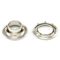 Thumbnail Image for DOT Rolled Rim Grommet with Spur Washer #4 Nickel Plated Brass 9/16