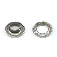 "Thumbnail Image for DOT Self-Piercing Rolled Rim Grommet with Spur Washer #4 Stainless Steel 1/2"" 1-gr"