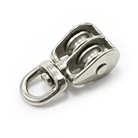 "Thumbnail Image for Pulley Cast Iron Nickel Plated Double Swivel Eye Steel Sheave #2 5/32"" Rope"