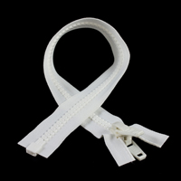 "Thumbnail Image for YKK® VISLON® #10 Separating Zipper Automatic Lock Double Pull Plastic Slider #VFUVOL107TX 18"" White"