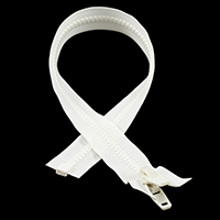 "Thumbnail Image for YKK® VISLON® #10 Separating Zipper Automatic Lock Double Pull Plastic Slider #VFUVOL107TX 24"" White"